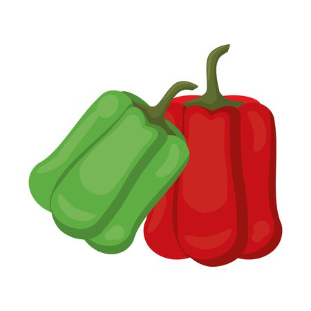 Fresh pepper vegetables cartoon vector illustration graphic design