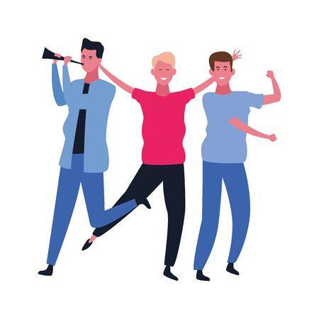 Happy people dancing and having fun vector illustration graphic design Reklamní fotografie - 124906645