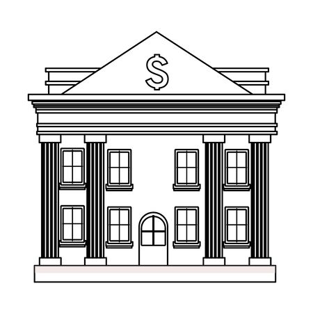 bank building icon cartoon isolated black and white vector illustration graphic design Illustration