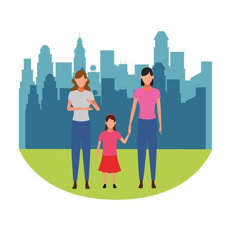 women with child holding hand avatar cartoon character cityscape skyscraper vector illustration graphic design