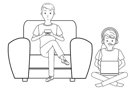 Millennial people tech and game party meeting guy playing sitting on couch using smartphone