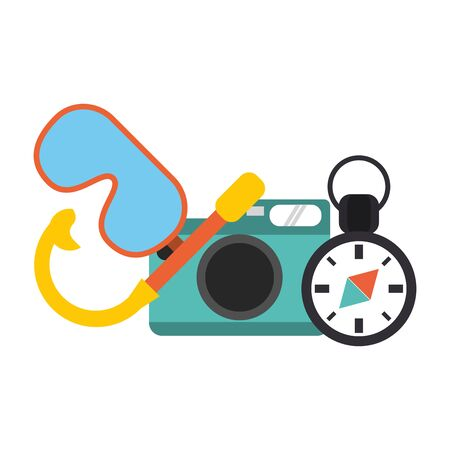Vacations and travel camera and diving mask with compass vector illustration graphic design 写真素材 - 124906697
