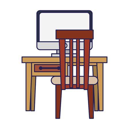 furniture concept desk with computer cartoon vector illustration graphic design  イラスト・ベクター素材