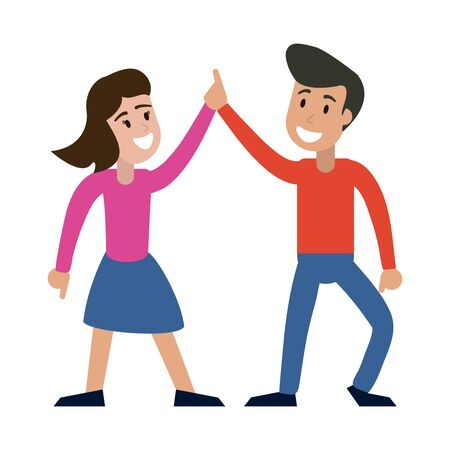 Couple dancing and smiling vector illustration graphic design