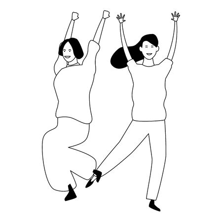 Two women friends dancing and having fun cartoon vector illustration graphic design Reklamní fotografie - 124907973