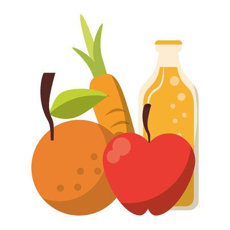 Fresh vegetables apple tomato carrot and juice bottle food cartoon vector illustration graphic design Çizim