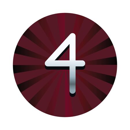 Four number in red striped round symbol