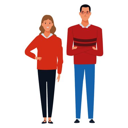 couple avatar cartoon character  with fashion casual clothes vector illustration graphic design 向量圖像