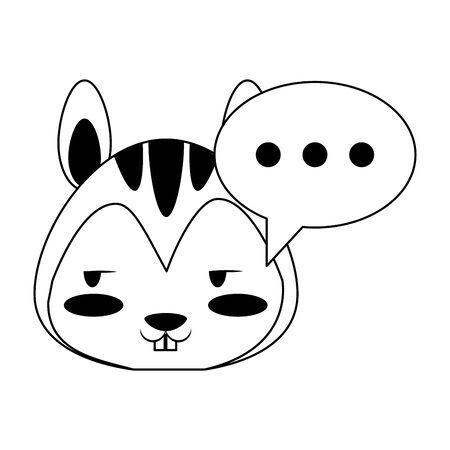 Cute squirrel with speech bubble animal cartoon  vector illustration graphic design