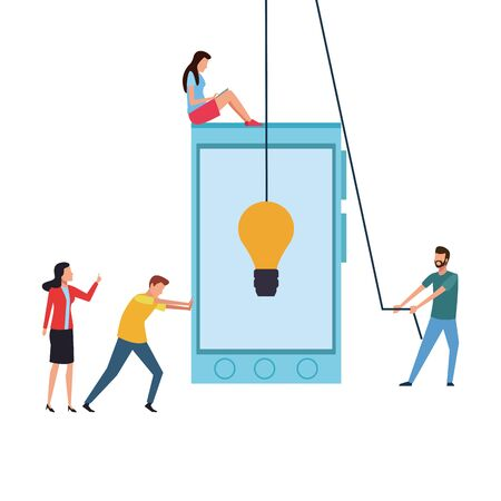 Coworkers with big idea on smartphone app teamwork cartoon vector illustration graphic design