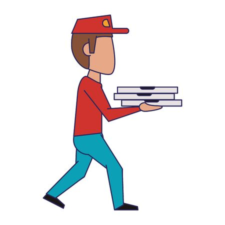Pizza guy with delivery on hands vector illustration graphic design