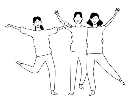 Happy people friends smiling and having fun cartoon vector illustration graphic design Reklamní fotografie - 124907923