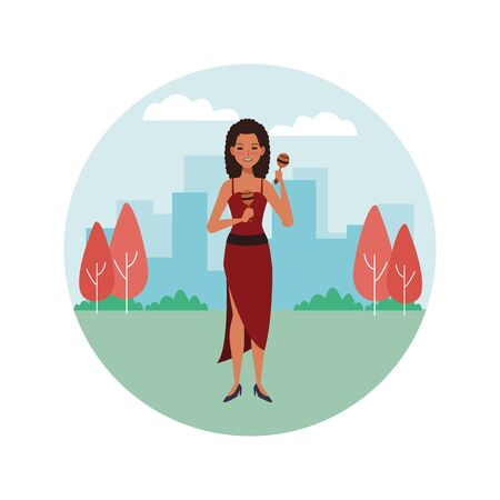 musician playing maracas avatar cartoon character in the park cityscape round icon vector illustration graphic design  イラスト・ベクター素材