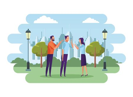 group of people speaking through the cellphone avatar cartoon character in the park and cityscape background vector illustration graphic design