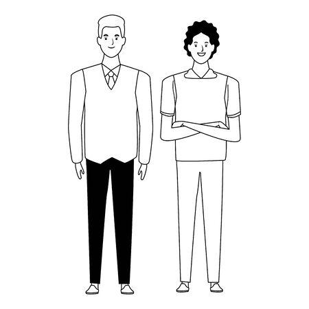 men avatar cartoon character  with casual fashion clothes and business suit vector illustration graphic design