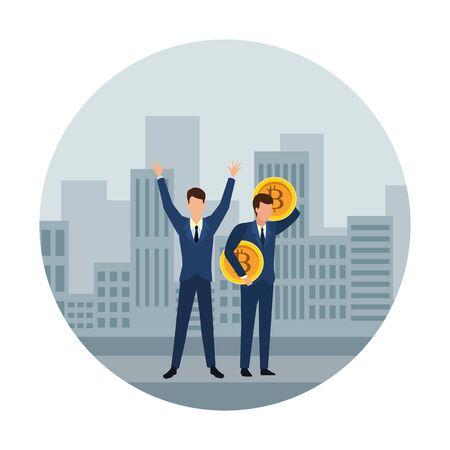 Business people with bitcoins avatars over cityscape scenery frame round icon vector illustration graphic design