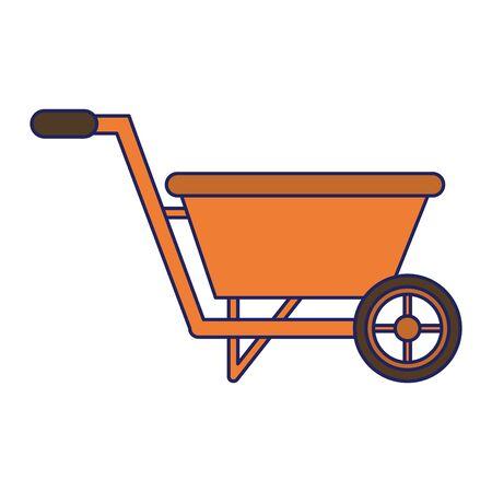Garden wheelbarrow tool isolated icon ilustration vector