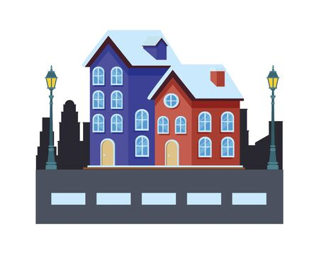 house and building in cityscape with streetlights vector illustration graphic design Ilustração