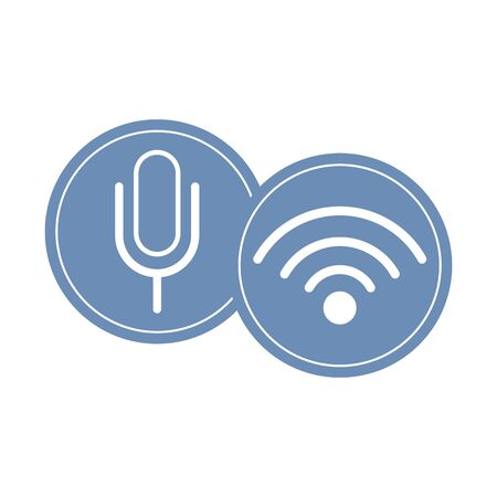 microphone and wireless sign round icon cartoon vector illustration graphic design