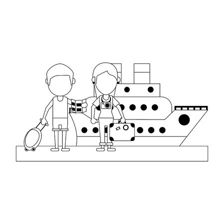 Travel and summer vacations couple with luggage in cruise ship vector illustration graphic design