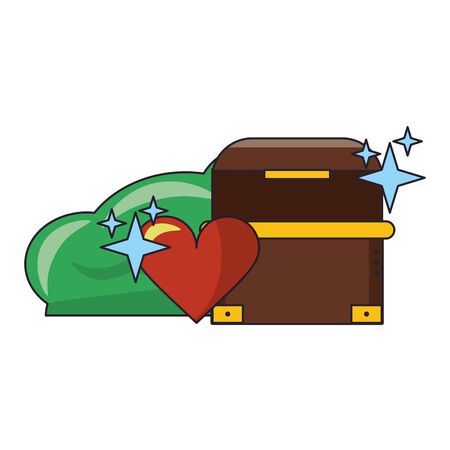 Videogames chest heart and bush cartoons vector illustration graphic design