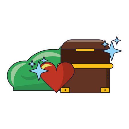 Videogames chest heart and bush cartoons vector illustration graphic design Reklamní fotografie - 124908369
