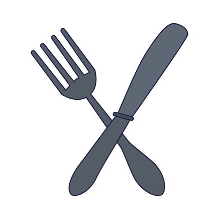 Cutlery fork and knife crossed symbol vector illustration graphic design