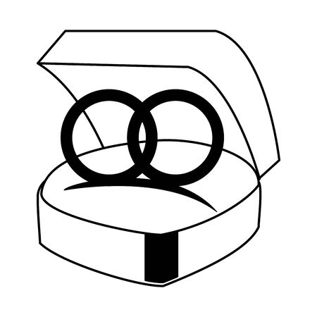 Wedding rings in box cartoon isolated vector illustration graphic design Stock Vector - 124908370