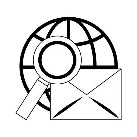 Email and magnifying glass global sphere vector illustration graphic design Illustration
