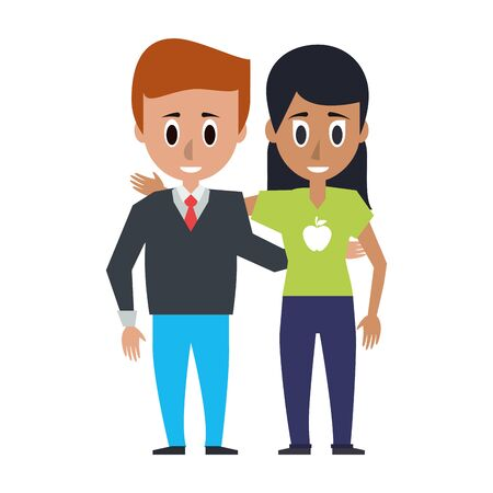 Friends woman and man embraced people cartoon vector illustration graphic design