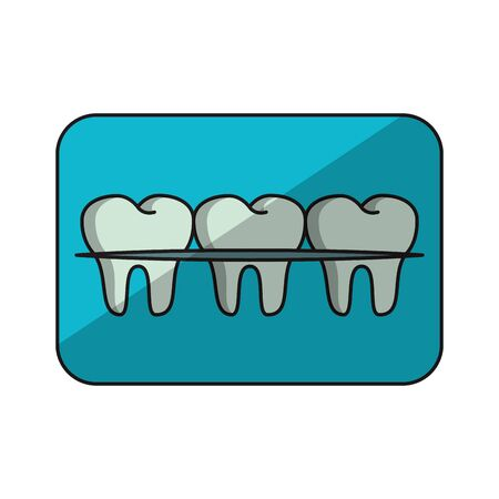 Teeth with braces banner cartoon isolated vector illustration graphic design