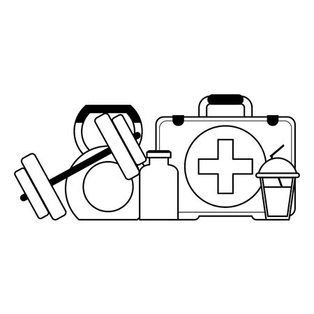 Fitness and gym equipment medical suitcase and weights with diet supply vector illustration graphic design
