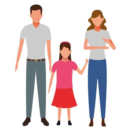 family avatar cartoon character child vector illustration graphic design