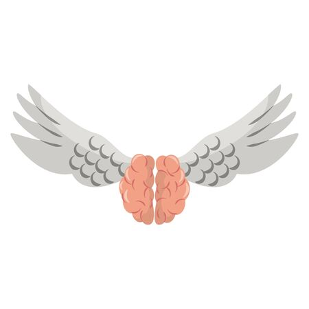 Brain with wings isolated symbol vector illustration graphic design