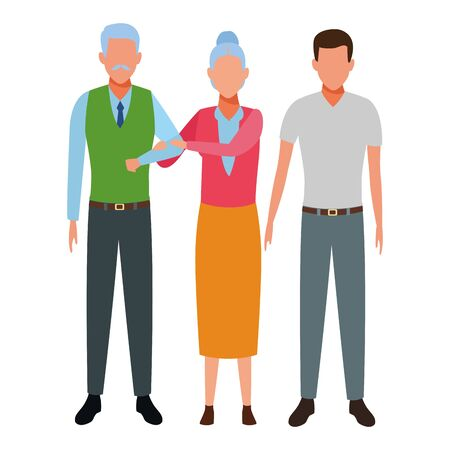 elderly couple and man avatar cartoon character vector illustration graphic design