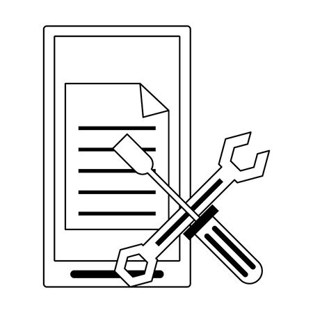 Business and office technology smartphone with document and tools vector illustration graphic design
