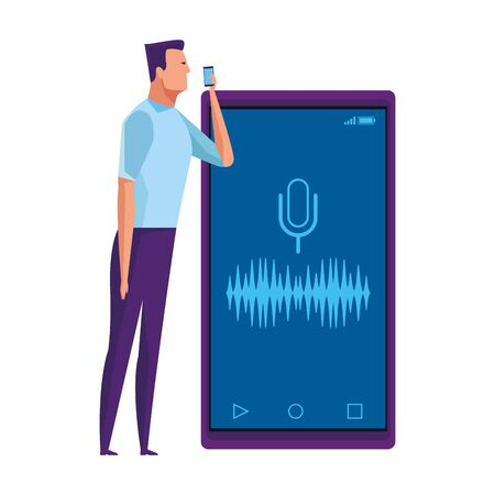 man holding a cellphone with microphone picture and sound signal vector illustration graphic design