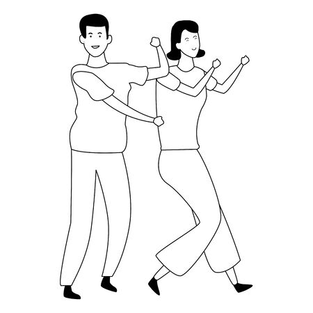 Couple woman and man dancing and having fun cartoon vector illustration graphic design