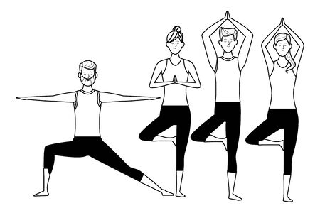 people yoga poses avatars cartoon character beard black and white isolated vector illustration graphic design