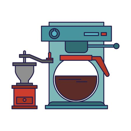 Espresso machine with coffee pot hot beverage with manual coffee grinder vector illustration graphic desing