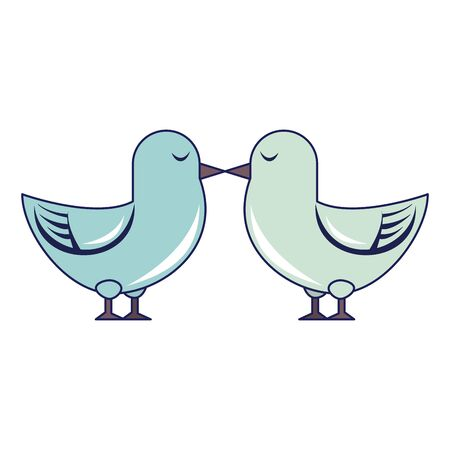 Cute birds kiss cartoon isolated vector illustration graphic design