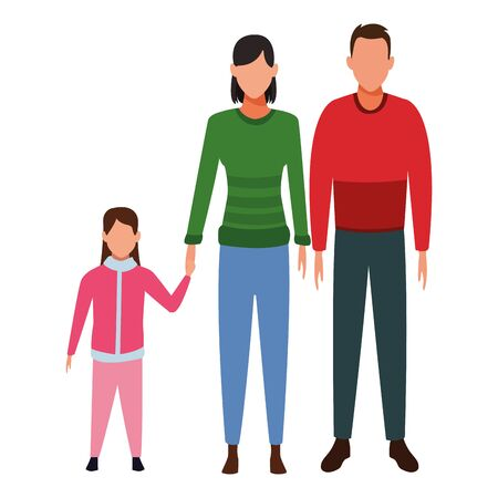 family avatar cartoon character wearing winter clothes and sweater vector illustration graphic design