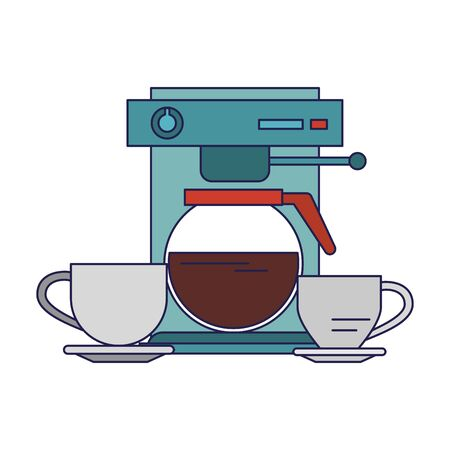 Espresso machine with coffee pot with cups hot beverage coffeeshop equipment vector illustration graphic desing