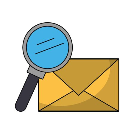 Email and magnifying glass symbols isolated vector illustration graphic design