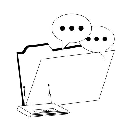 Digital folder with chat bubbles and wifi router vector illustration graphic design  イラスト・ベクター素材