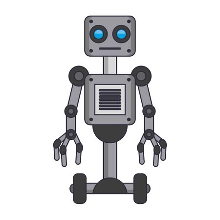 electric robot with wheels icon cartoon isolated vector illustration graphic design
