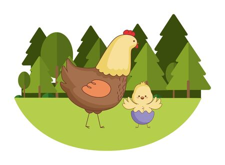 Happy farm animals hen and chick wearing eggshell easter season drawing  on grass with trees scenery vector illustration graphic design Ilustrace