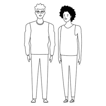 couple avatar cartoon character  with fashion casual clothes vector illustration graphic design Foto de archivo - 124986810