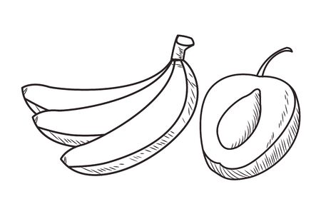 Fresh fruit nutrition healthy bananas and peach food and fitness diet options black and white vector illustration graphic design