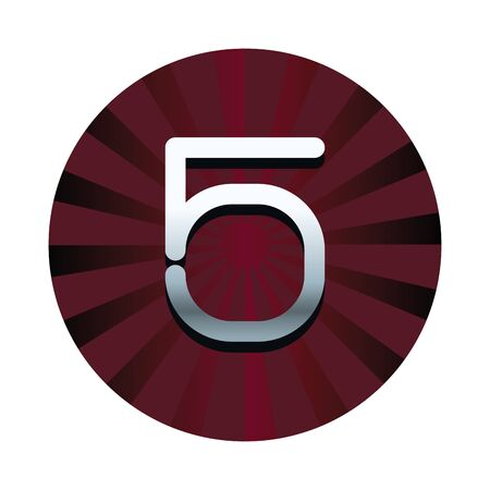 Five number in red striped round symbol 일러스트